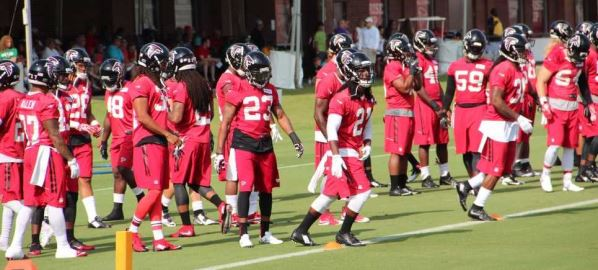 The Atlanta Falcons during training camp.