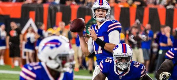 Josh Allen throwing the ball during game against the Browns.