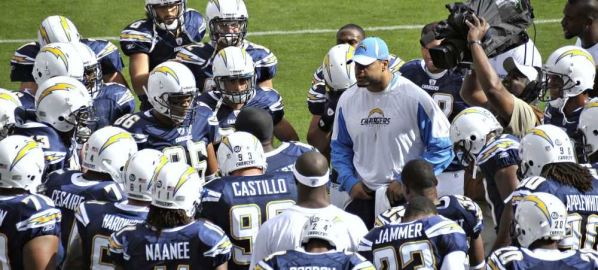 Shawne Merriman of the San Diego Chargers participates in the team huddle.