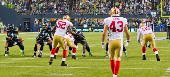 San Francisco 49ers on defense vs the Seattle Seahawks.