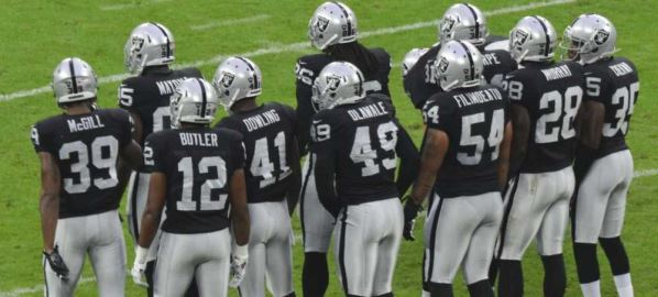 The Raiders lining up during game against the Miami Dolphins.