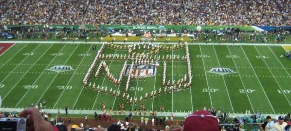 Super Bowl opening ceremonies before kick off.